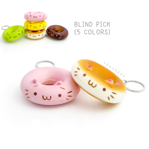 Squishy Cat Donut Keychain